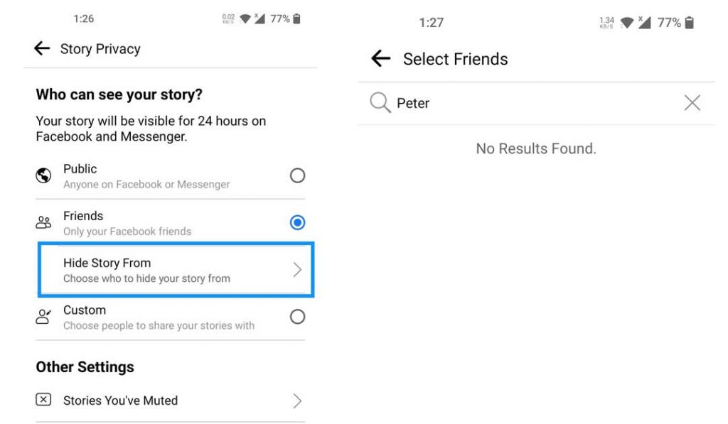 How do I hide my story on Facebook?