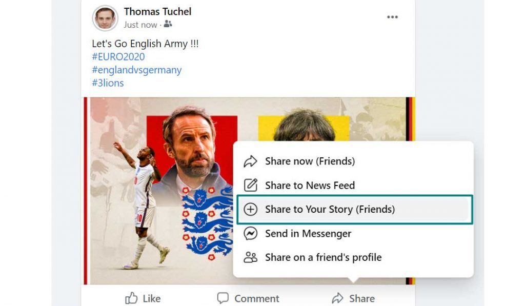 How to Share a Facebook Post to Your Story