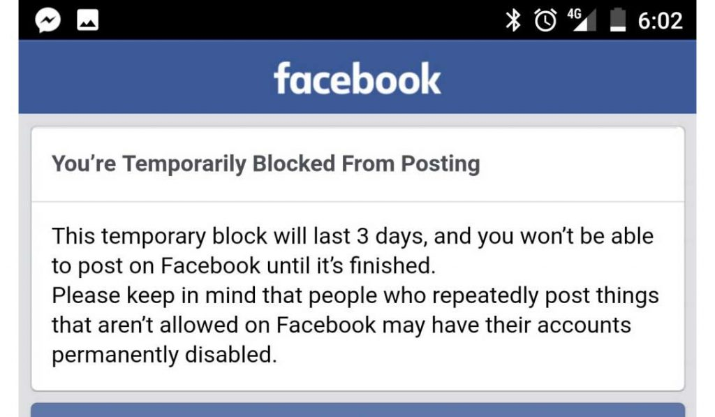 Temporarily Blocked from Posting